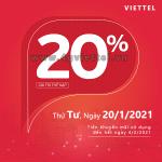 Viettel khuyến mãi 20/1/2021 NGÀY VÀNG tặng 20% giá trị tiền nạp