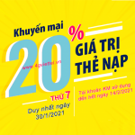 Viettel khuyến mãi 30/1/2021 NGÀY VÀNG tặng 20% giá trị mỗi thẻ nạp