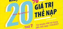 Khuyến mãi Viettel 30/1/2021 NGÀY VÀNG tặng 20% tiền nạp