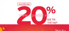 Viettel khuyến mãi 10/3/2021 ưu đãi NGÀY VÀNG tặng 20% tiền nạp