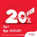 Viettel khuyến mãi 20/3/2021 NGÀY VÀNG tặng 20% giá trị tiền nạp