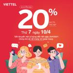 Viettel khuyến mãi 10/4/2021 tặng ưu đãi 20% giá trị cho mỗi thẻ nạp thành công