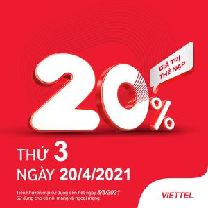 Viettel khuyến mãi 20/4/2021 ưu đãi NGÀY VÀNG tặng 20% tiền nạp