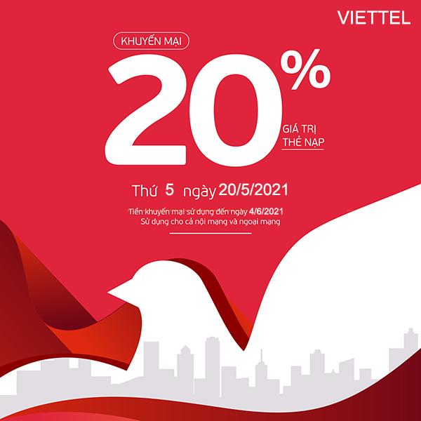 Viettel khuyến mãi 20/5/2021 ưu đãi NGÀY VÀNG tặng 20% giá trị tiền nạp