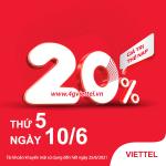 Khuyến mãi Viettel 10/6/2021 ưu đãi NGÀY VÀNG tặng 20% tiền nạp