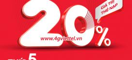 Viettel khuyến mãi 10/6/2021 tặng ngay 20% giá trị thẻ nạp NGÀY VÀNG