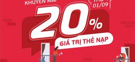 Viettel khuyến mãi 1/9/2021 ưu đãi 20% giá trị thẻ nạp NGÀY VÀNG