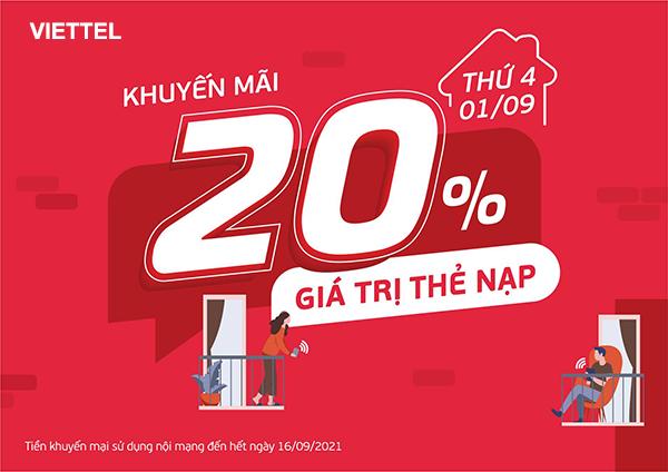 Viettel khuyến mãi 1/9/2021 NGÀY VÀNG tặng 20% giá trị tiền nạp