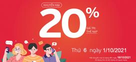 Viettel khuyến mãi 1/10/2021 NGÀY VÀNG ưu đãi 20% giá trị tiền nạp