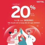 Viettel khuyến mãi 10/9/2021 NGÀY VÀNG tặng 20% giá trị thẻ nạp