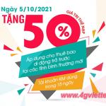 Viettel khuyến mãi 5/10/2021 tặng 50% giá trị tiền nạp